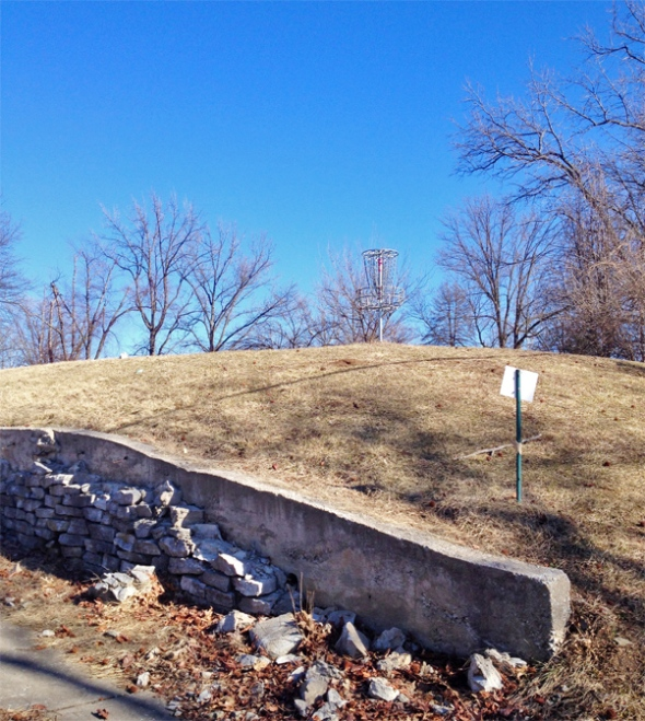Precarious basket at Carrollton Park in Bridgeton, Mo., a suburb of St. Louis